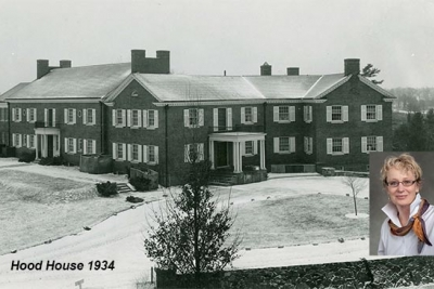 photo of Hood House circa 1932 (Milne Special Collections); inset of Kerryellen Vroman