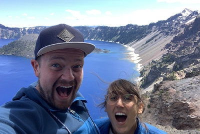 Mike Merrill and fiancé Gabby at Crater Lake in Oregon
