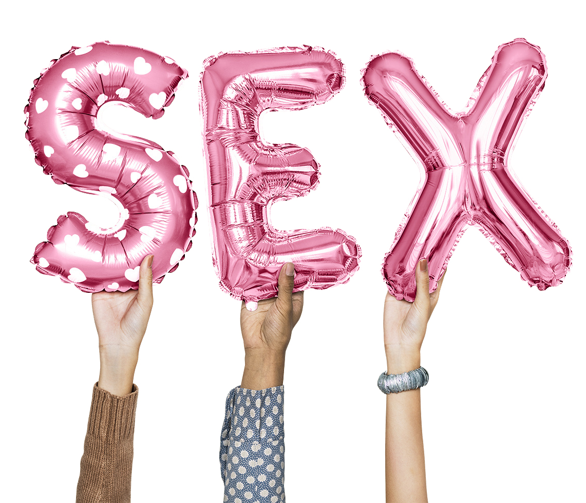 image of hands holding letters S E X in pink