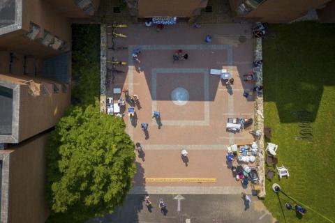 drone view of campus courtyard