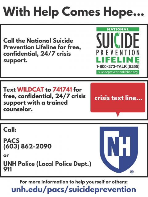 suicide prevention flyer. PACS phone: 603-862-2090. UNH police: 911. Text WILDCAT to 741741.