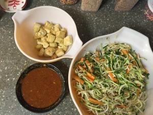 Zoodles with spicy peanut sauce
