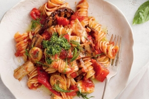 Chargrilled mediterranean vegetable pasta dish