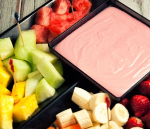 fruit platter with raspberry lime dip