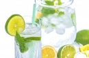 Water with lemon, lime, and mint