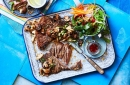 T-bone steaks with asian style mushrooms