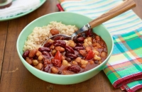 Spicy three-bean pantry chili