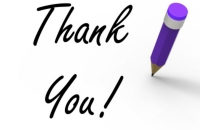 the words thank you with an exclamation point  pictured with a pencil