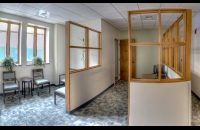 interior picture of the waiting area of UNH's Health Services Employee Clinic.