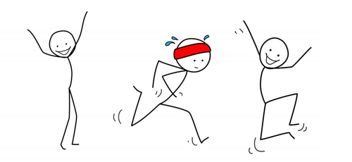 wildcat workout project logo: stick figures running and jumping