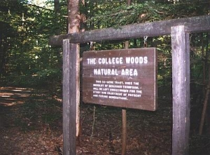 A sign in College Woods