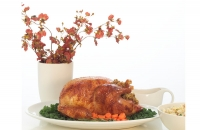 cooked stuffed turkey pictures on the table with vase of flowers