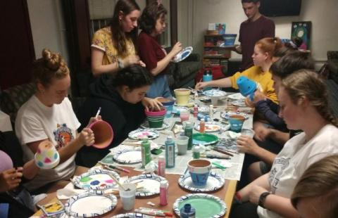students participating in a hall activity in Hetzel