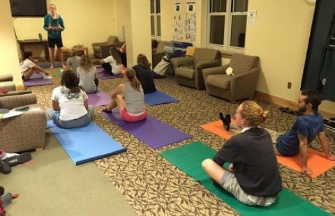residents in Peterson doing yoga