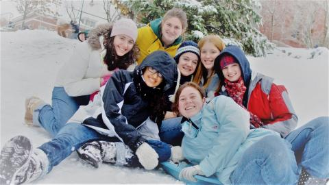 group of students in the snow