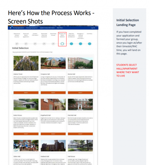 Screen Shot of Initial Housing Selection Process Page