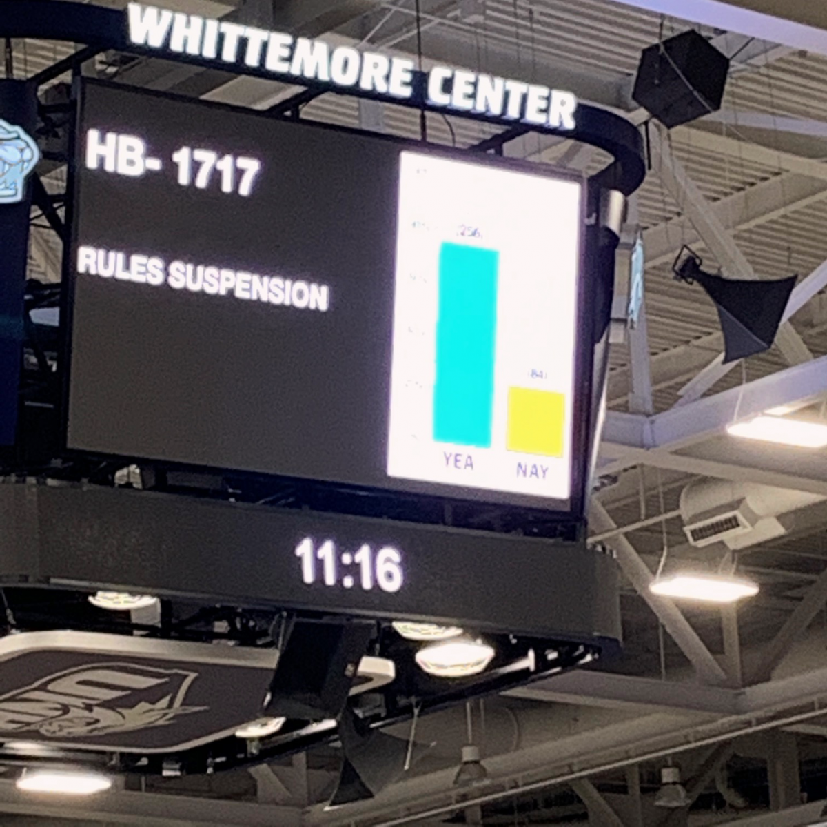 A photo of the scoreboard at the Whittemore Center Arena displaying a vote by the New Hampshire House of Representatives on June 11, 2020. Photo by Terri Winters.