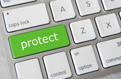 Photo of a keyboard with a button entitled protect
