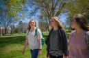 Students walk across campus. Photo by Jeremy Gasowski.