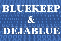 Image showing 1s and 0s with the words BlueKeep and DejaBlue superimposed