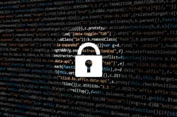 Computer Code with Padlock Image