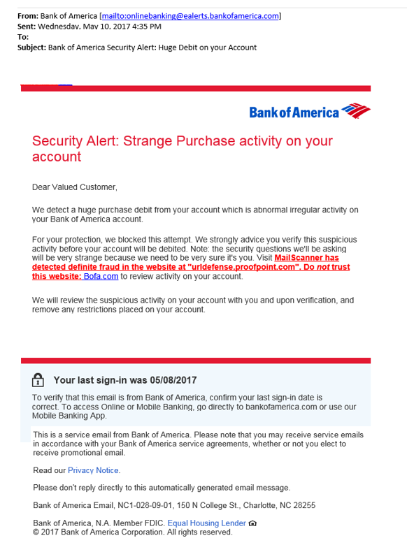 Bank of America Security Alert Huge Debit on your account