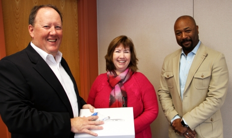 Ted Anglace (Sophos), Eileen Cooley (Prize Winner), Stan Waddell (UNH CIO)