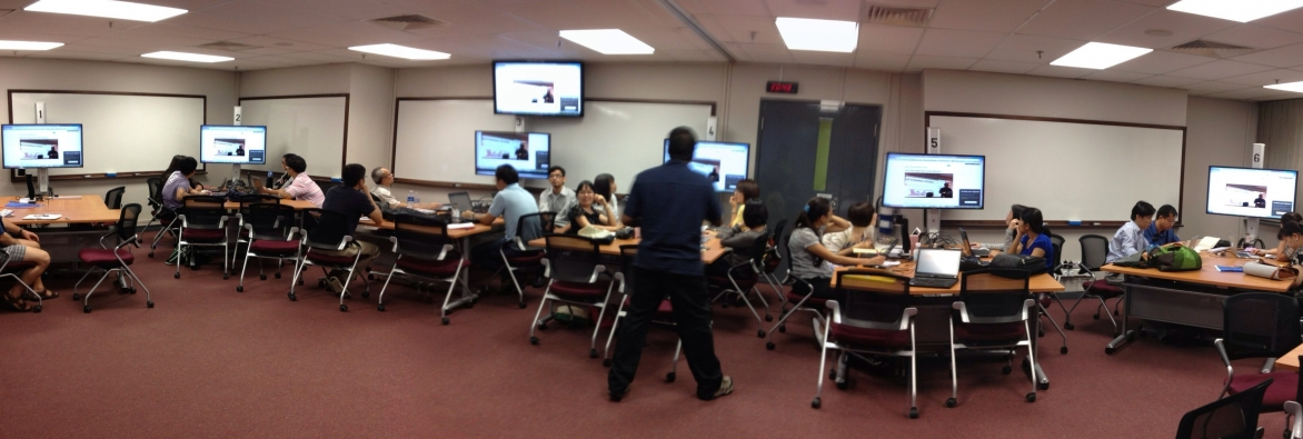College students in a technology enabled active learning (TEAL) classroom.