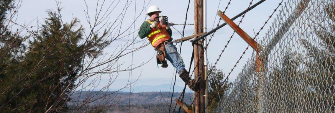 Worker on telephone pole