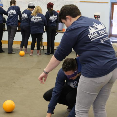 students playing blindfold dodgeball