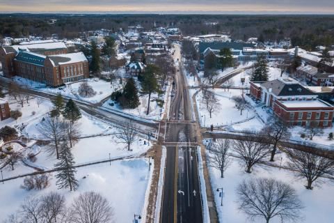 aerial of UNH campus in the winter