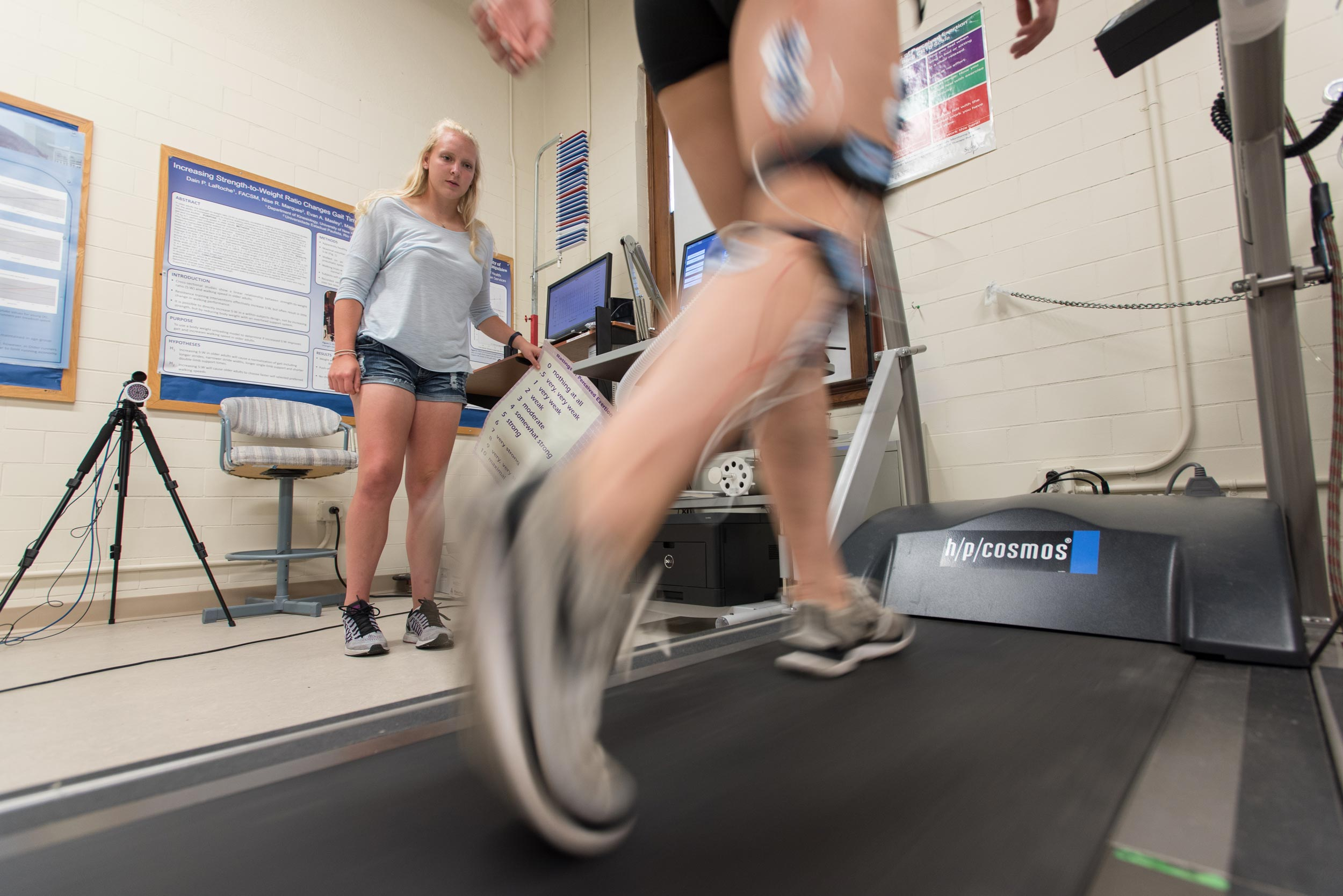 Person being monitored on a treadmill