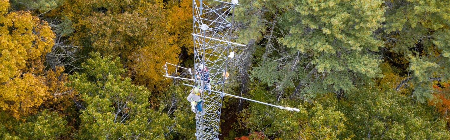 Aerial photo of research tower in a forest