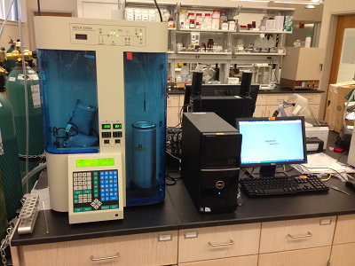The BET surface area analyzer in UNH lab.