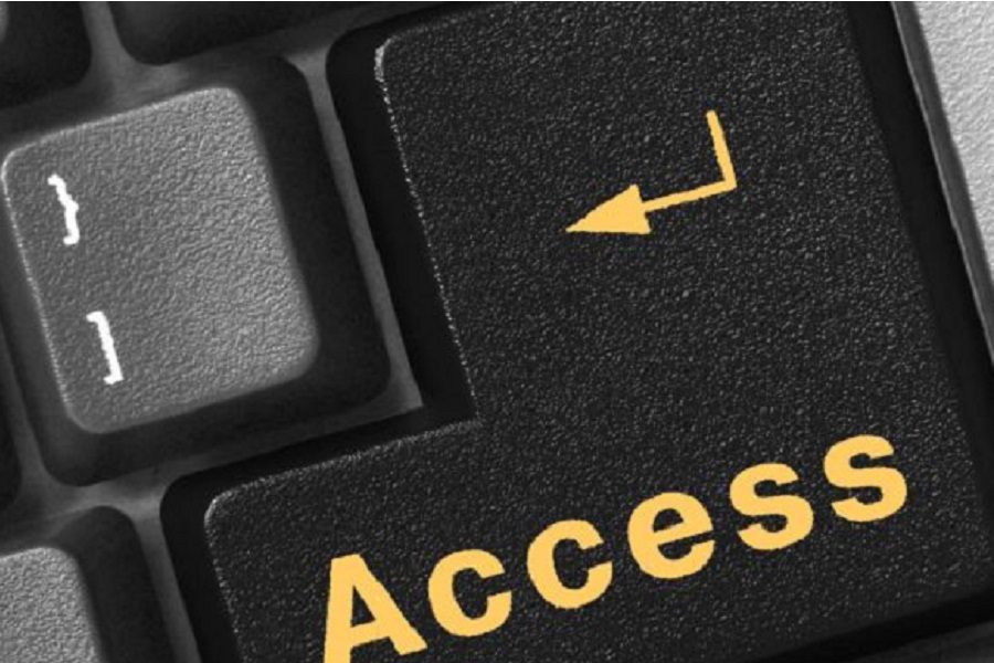 A photo of a keyboard that says access