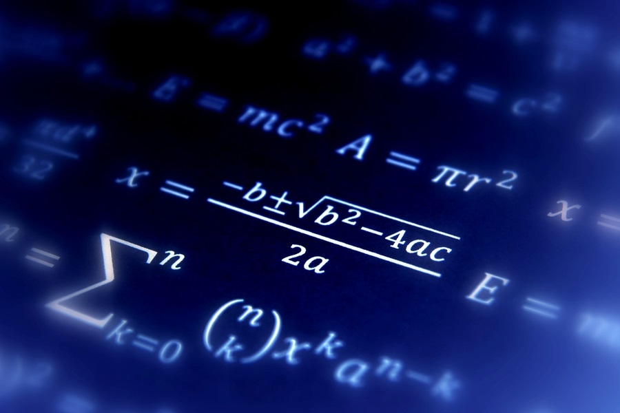 A photo of mathematical equations