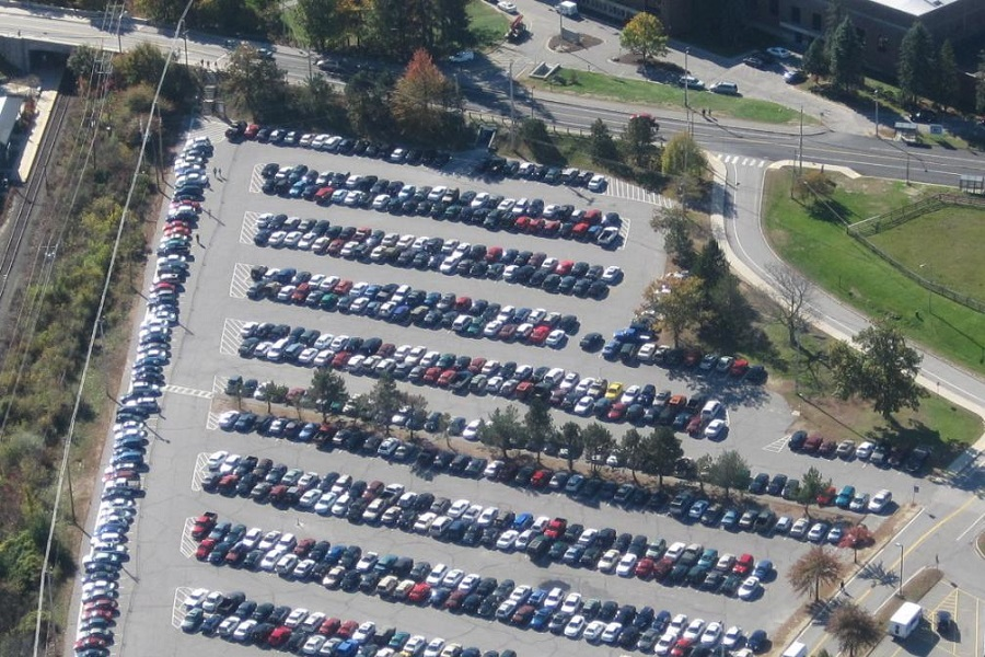An aerial photo of UNH Parking lot A