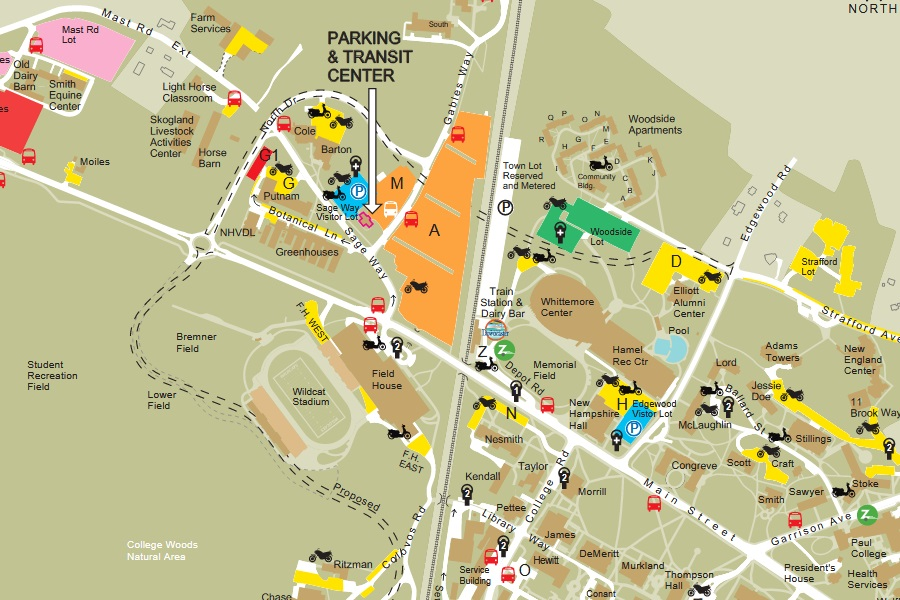 A shapshot picutre of the UNH parking map