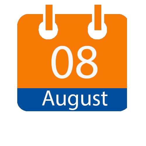 Enter image description here.orange and blue calendar icon with white writing to show the date of 08 August
