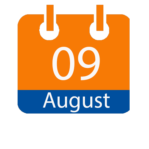 orange and blue calendar icon with white writing to show the date of 09 August