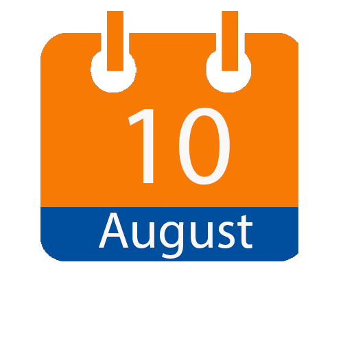 orange and blue calendar icon with white writing to show the date of 10 August