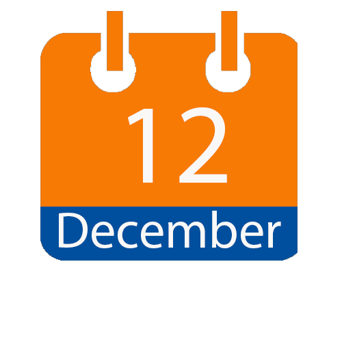 Blue and Orange calendar icon with date of December 12