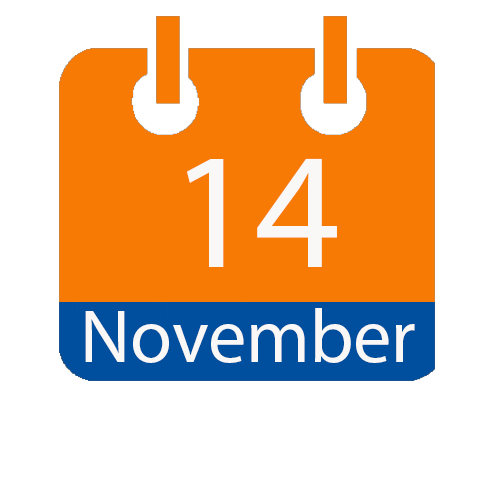 Blue and Orange calendar icon with date of November 14