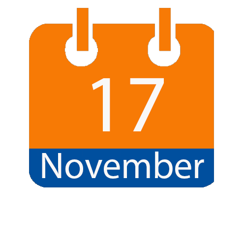Enter image description here.orange and blue calendar icon with white writing to show the date of 17 November