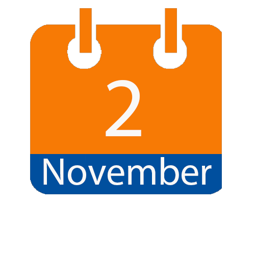 Blue and Orange calendar icon with date of November 2
