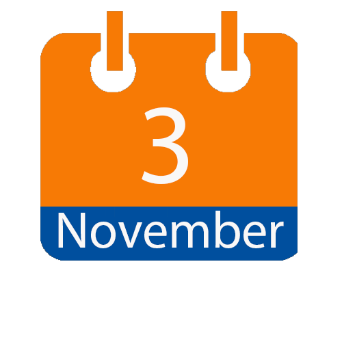 orange and blue calendar page icon with date of November 3