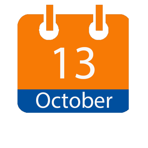 Blue and Orange calendar icon with date of October 13