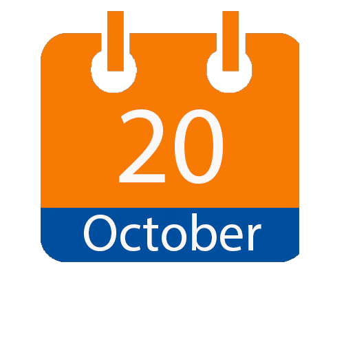 Blue and Orange calendar icon with date of October 20