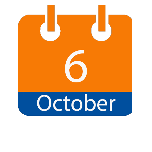 Blue and Orange calendar icon with date of October 6