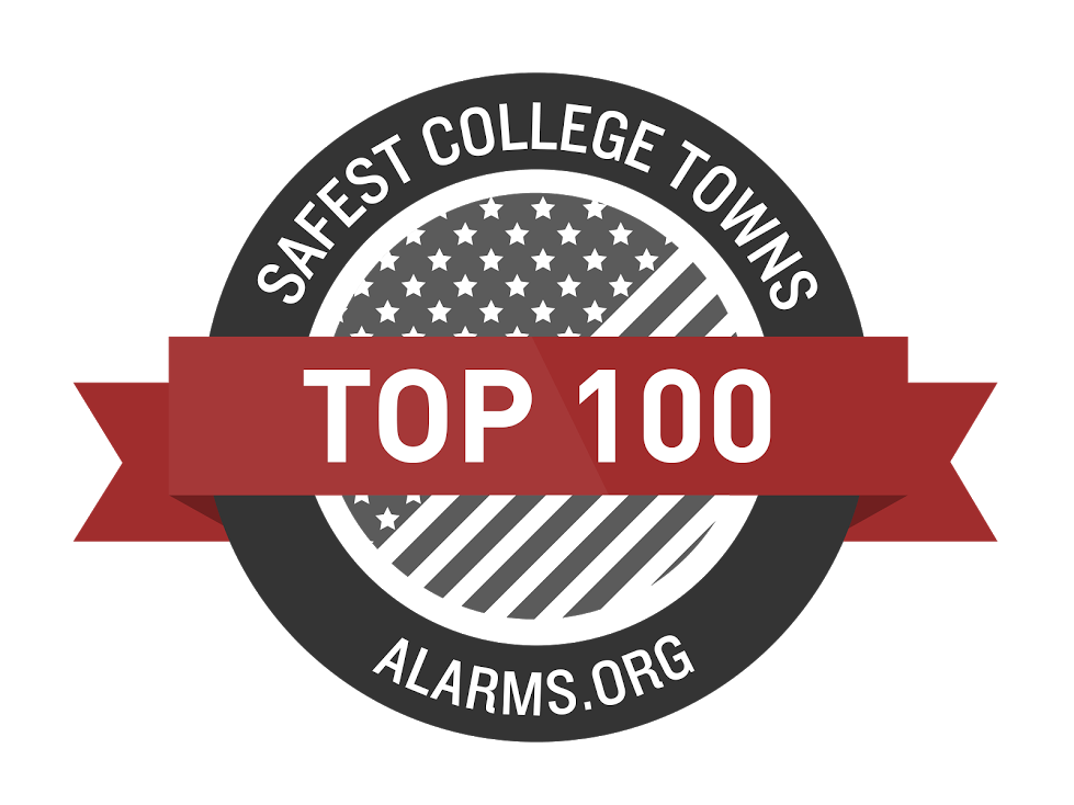 Top 100 safest college towns badge